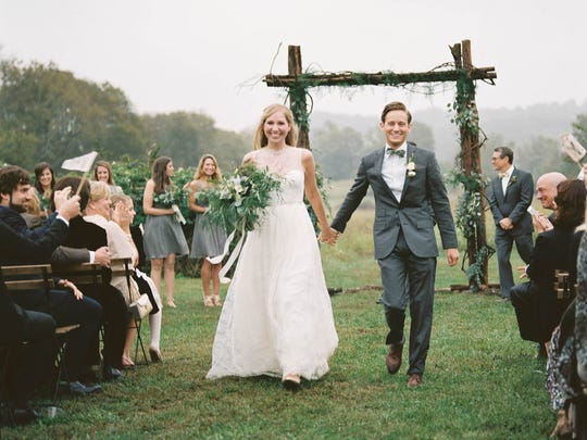 Perry Del Favero and Zach Wexler married at Southall Meadows, a family-run farm in Leiper's Creek.