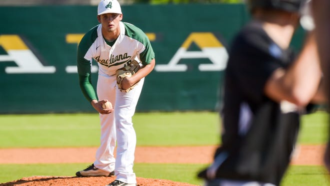Starting pitcher Hunter Tabb on the mound as Acadiana takes on New Iberia- Tuesday, March 21, 2017.
