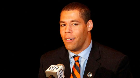Auburn senior tight end C.J. Uzomah replaced Nick Marshall at SEC Media Days in Hoover
