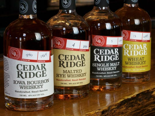 Cedar Ridge's lineup of whiskeys that are available in 15 states including Iowa.