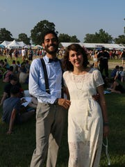 Newlyweds Pablo Bendicksen and Danielle Shepard tied the knot at the Bonnaroo Music and Arts Festival in Manchester, Tenn. on Thursday, June 11, 2015.