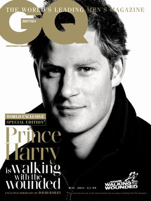 In this handout photo released by Conde Nast on Monday, March 28, 2011, Britain's Prince Harry on the cover of GQ magazine.