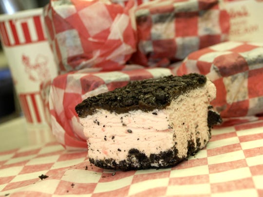 The special peppermint bars topped with Oreo crust and hot fudge at Bauder's Pharmacy in Des Moines are a fair-time specialty.