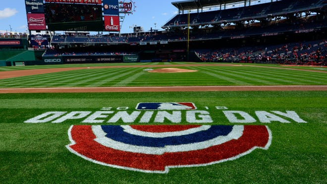 Opening Day logo on the field.