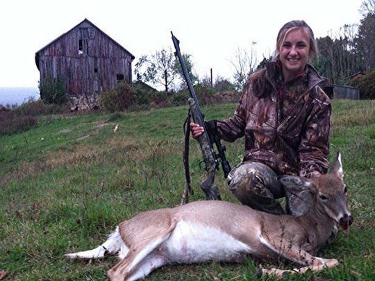 Jesse Winand with her muzzleloading kill, October 2014.