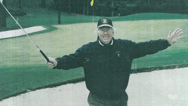 Lou Gerber celebrates after he parred No. 16 at Augusta National Golf Club.