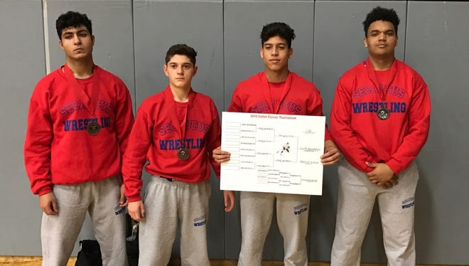 From left: Secaucus wrestlers Robinson Reyes, Alex Leon, Cesar Quinones and Saummy Duran.