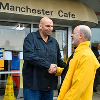 Gov. Tom Wolf, John Fetterman meet for lunch and cause a stir at the Manchester Cafe