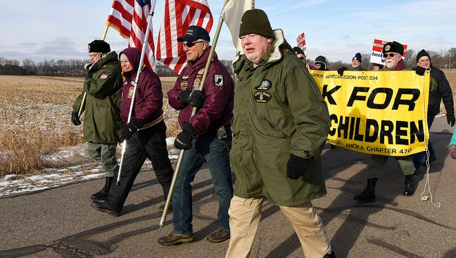 Mike Clark, Anoka, was the only original member from the 1989 group of Vietnam Veterans of America Chapter #470 there Saturday, Dec. 19, to make the final walk from Jacob Wetterling's abduction site to the Wetterling home in St. Joseph.