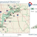 North Carolina's heavily gerrymandered 12th District is 120 miles long and 20 miles wide at its widest point.