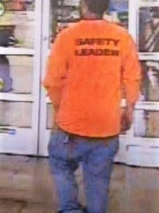 "A man wearing a shirt with ""Safety Leader"" on the back is suspected of filming girls on Oct. 2 at Walmart, 1850 N. Zaragoza Rd."