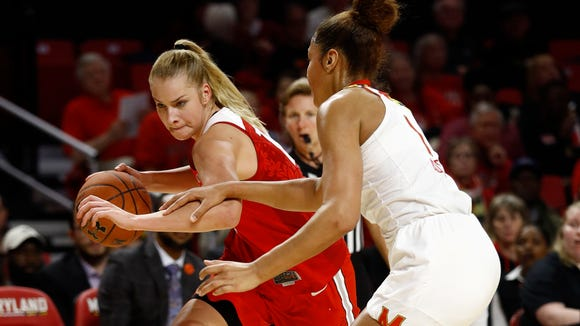 Ohio State forward Dorka Juhasz, left, averaged nearly 12 points and nine rebounds to earn all-Big Ten second team accolades last year.