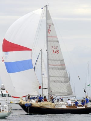 Chippewa of the Port Huron Yacht Club crosses the starting line in the 2011 Port Huron-to-Mackinac Island Sailboat Race.