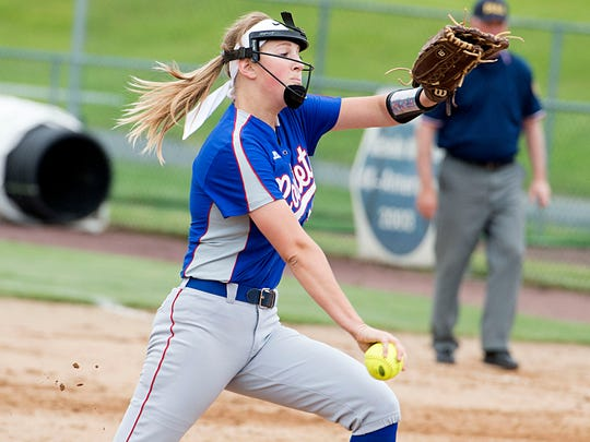 Spring Grove's Hailey Kessinger winds up to pitch in the District 3 playoffs last season.