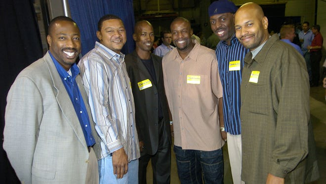 Former UC players from left...B.J. Ward, Lou Banks, Tarrice Gibson, Steve Sanders, Keith Starks and Andre' Tate.