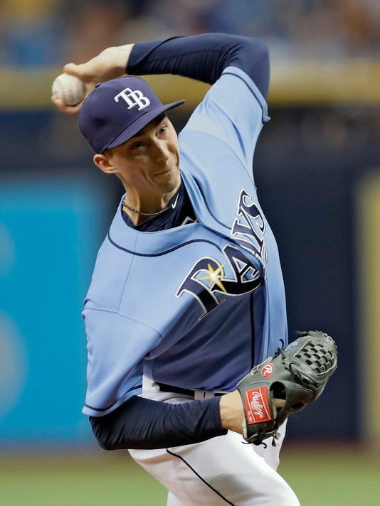 Tampa Bay Rays starting pitcher Blake Snell delivers to the Seattle Mariners during the first inning of a baseball game, Sunday, Aug. 20, 2017, in St. Petersburg, Fla. (AP Photo/Chris O'Meara)