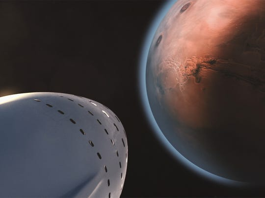 Artist concept of SpaceX's proposed Interplanetary Transport System carrying 100 Mars settlers to the Red Planet.