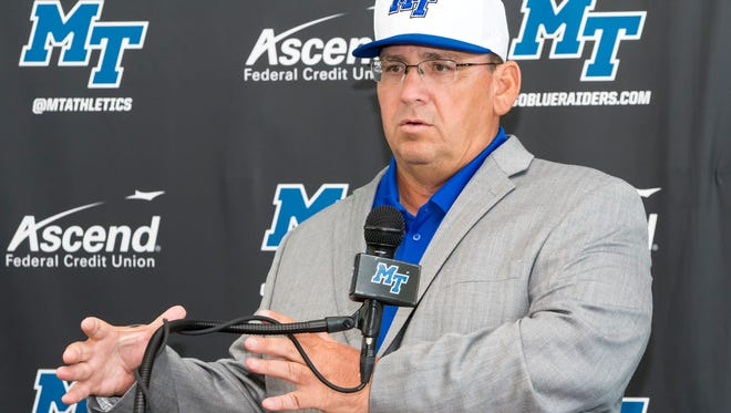New MTSU baseball coach Jim Toman talks to the media after being introduced Wednesday.