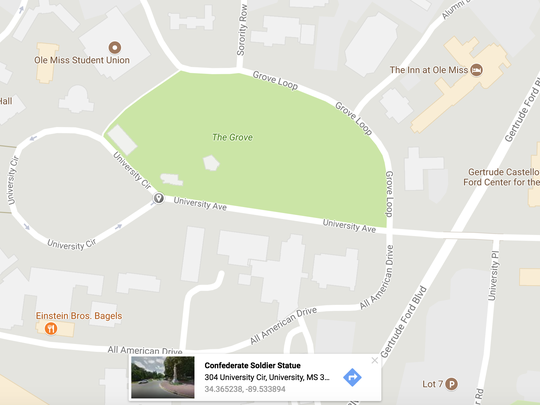 The location of the Confederate monument at Ole Miss.