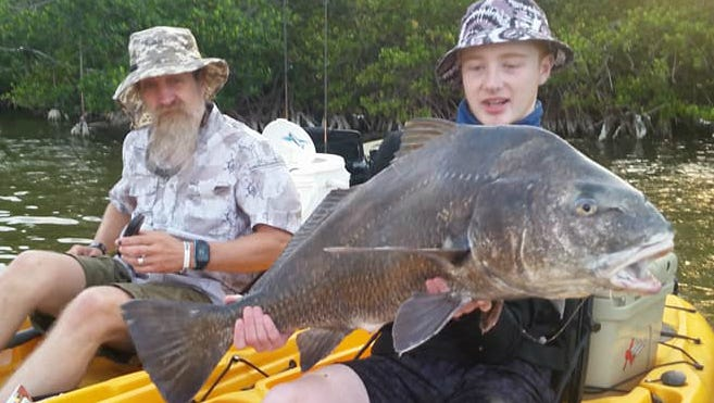 This young angler caught and released this whopper of a black drum while kayak fishing in the Indian River Lagoon with Capt. Alex Gorichky of Local Lines Guide Service on Merritt Island.