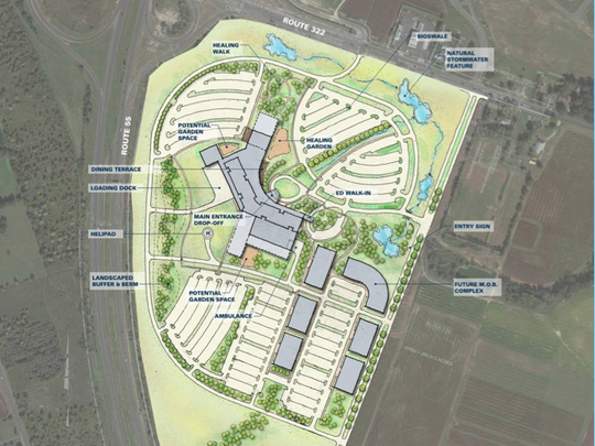 Inspira Health Network is likely to officially own 100 acres in Harrison Township by April for a proposed $350 million medical center.