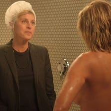Chelsea Handler takes a naked shower with Ellen DeGeneres on her show's finale on E!