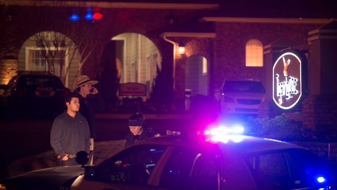 Auburn Police investigate the fatal shooting of Auburn freshman tight end Jakell Mitchell at the Tiger Lodge apartments in Auburn, Ala., early Sunday morning, Dec. 14, 2014.