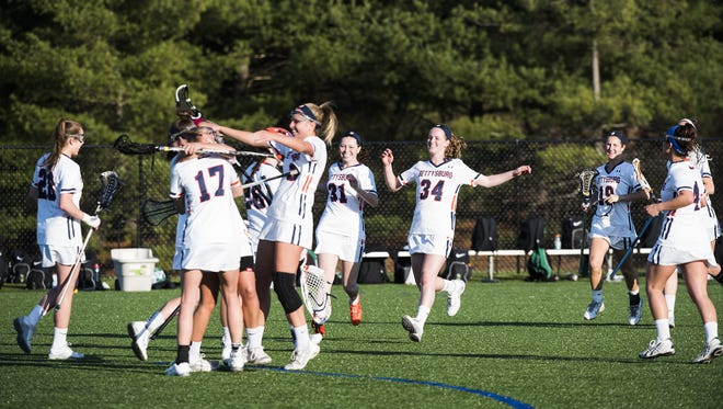 Gettysburg College celebrates after its 8-7 home victory over York College on Wednesday.