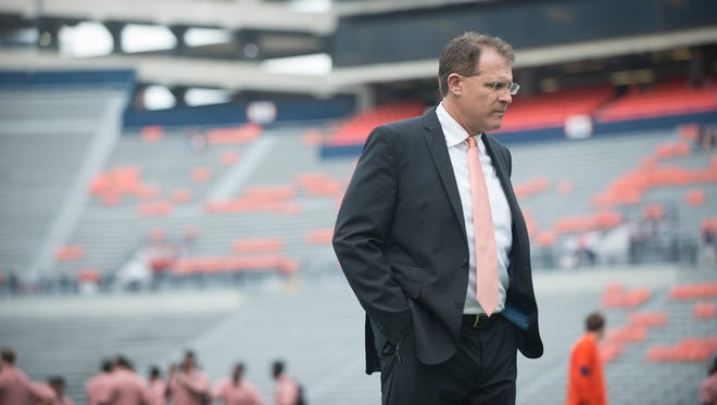 Auburn head coach Gus Malzahn looks on before the Auburn vs. Texas A&M NCAA football game on Saturday, Sept. 17, 2016, at Jordan Hare Stadium in Auburn, Ala.