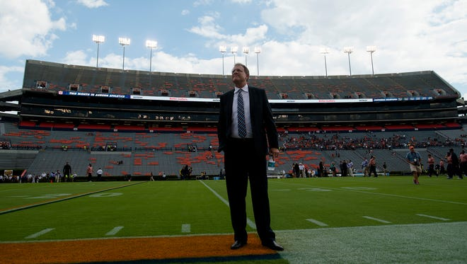 Auburn head coach Gus Malzahn looks on while walking the field before NCAA football game between Auburn and LSU Saturday, Sept. 24, 2016, at Jordan Hare Stadium in Auburn, Ala.