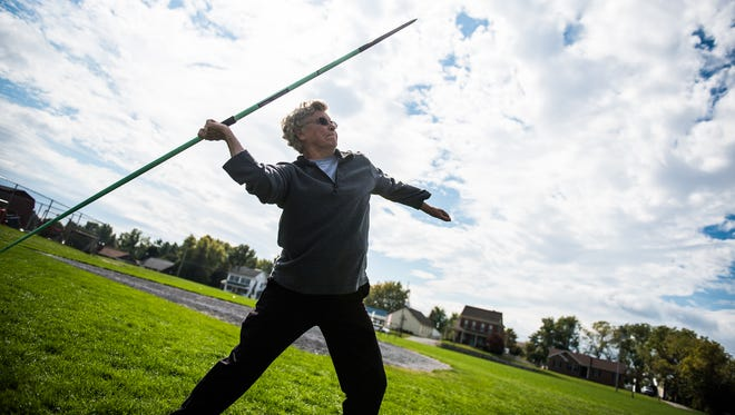 Gloria Krug, 87, practicing javelin at New Oxford High School. She competes in USA Track & Field competitions in the 85-89 age group.