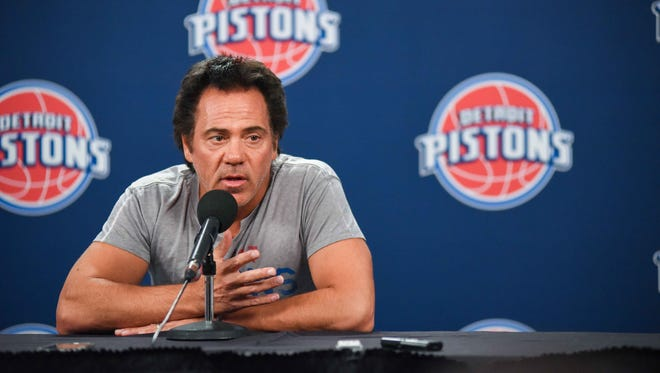 Detroit Pistons owner Tom Gores talks to the media Oct. 28, 2016, at the Palace of Auburn Hills.