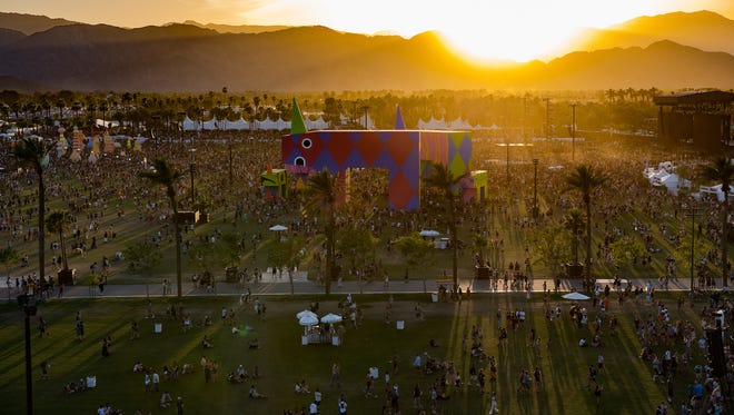 An aerial shot of the Coachella Music Festival Friday, April 15, 2017.