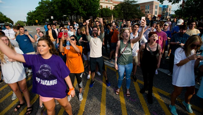 Auburn students shout back at pro Richard Spencer supporters on Auburn Campus at Auburn University on Tuesday, April 18, 2017, in Auburn, Ala. A man who rented Foy Hall for Richard Spencer and was denied filed a Federal Law Suit and was granted an injunction by a Federal Judge to allow Richard Spencer to speak.  