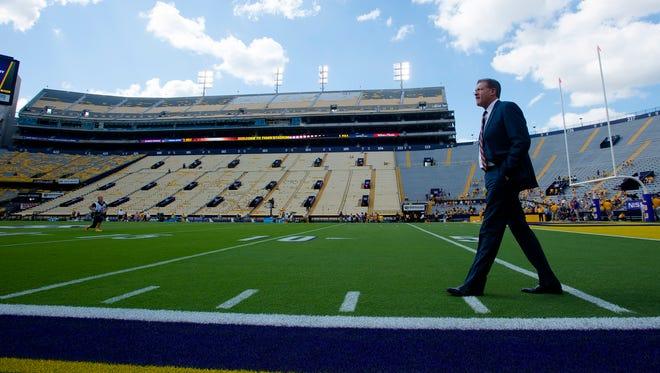 Auburn head coach Gus Malzahn walks the field before the NCAA football game between Auburn and LSU on Saturday, Oct. 14, 2017, at Tiger Stadium in Baton Rouge, La.