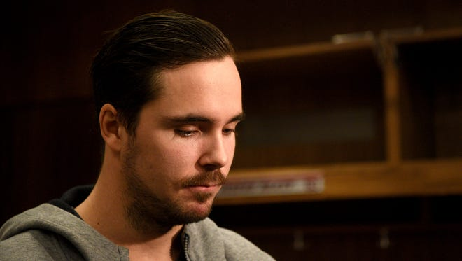 Marcus Johansson #90, a forward for the New Jersey Devils, speaks with the press on the day designated for the team to clean out their lockers at the Prudential Center in Newark on Tuesday, April 24, 2018.