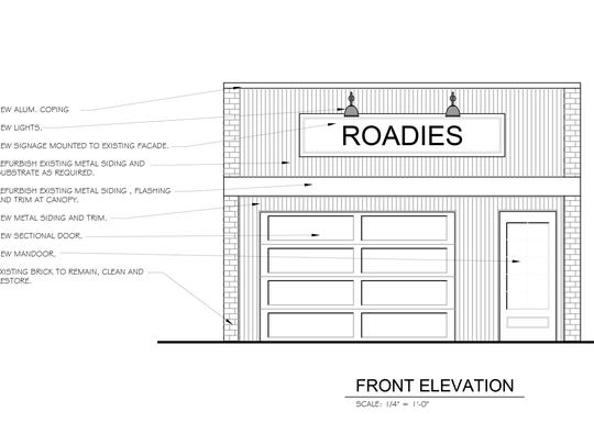 In a rendering created by The Peabody Group Architects and Designers, the front elevation is shown of what will be Roadies restaurant on Main Street in downtown Brighton.