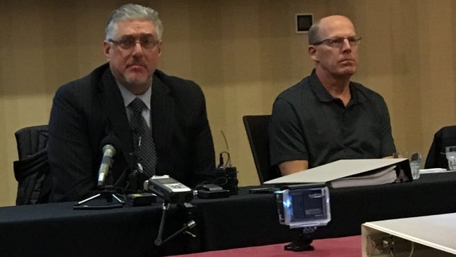 Dan Rassier, right, and his attorney, Michael Padden, met the media November 2016 to discuss a lawsuit against investigators in the Jacob Wetterling disappearance.