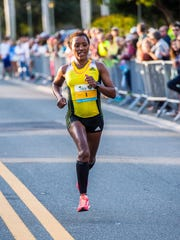 Belainesh Gebre, 29, of Flagstaff, Arizona, was the first female finisher. She finished 11th overall.