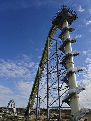 A Nov. 2013 photo shows Schlitterbahn's new Verrückt speed slide/water coaster in Kansas City, Kan. A spokeswoman for the waterpark in Kansas says crews are still trying to fix a mechanical problem with the world's tallest water slide. Unless it can be fixed by Sunday, the ride's official opening may be delayed for a third time.