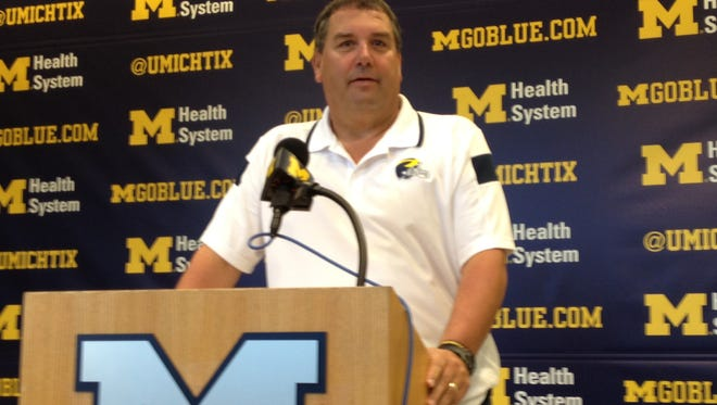 Michigan coach Brady Hoke talks to the media Wednesday during his news conference.