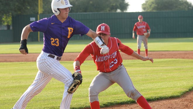 Byrd's Lucas Henderson sprints safely through first base in the second inning of a 10-4 win over Haughton in the first round of the LHSAA playoffs.