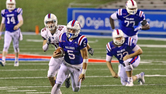 Louisiana Tech wide receiver Trent Taylor (5) and quarterback Ryan Higgins (14) are one of the top duos in the country.