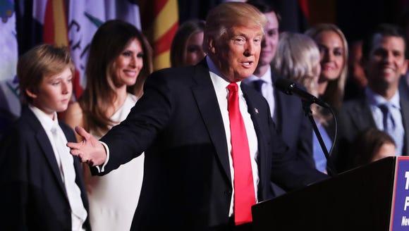 Republican president-elect Donald Trump delivers his