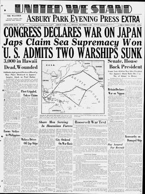 The front page of the Asbury Park Press (then-called Asbury Park Evening Press) on Dec. 8, 1941.