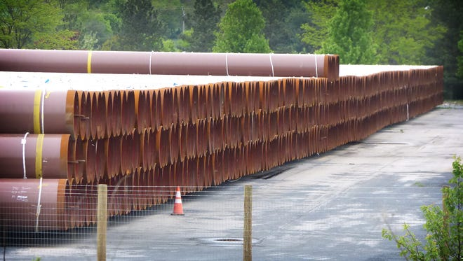 Williams is storing pipes at the former Alcoa plant at 3000 State Drive in South Lebanon Township. The segments are 40, 60 or 80 feet in length and some weigh about 10 tons.