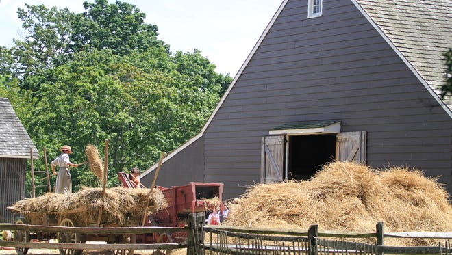 FILE PHOTO Interpreters at Longstreet Farm in Holmdel Park demonstrate the threshing of wheat in July 2013. ASB 0715 Threshing: Historic Longstreet Farm   Historic Interpreters at Longstreet Farm in Holmdel Park, perform the labor intensive annual task of threshing wheat that is grown on the farm,