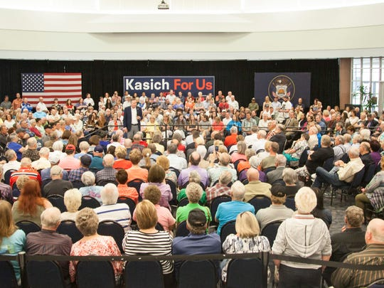 Presidential candidate Gov. John Kasich holds a rally