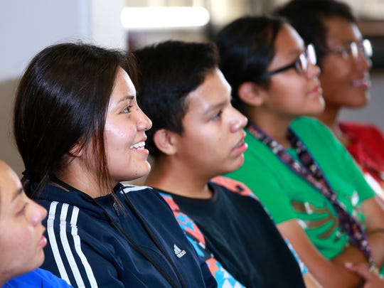 Incoming freshmen Keona Hosteen, left, and Stephan Velazquez attend a workshop during orientation on Wednesday at Navajo Prep.