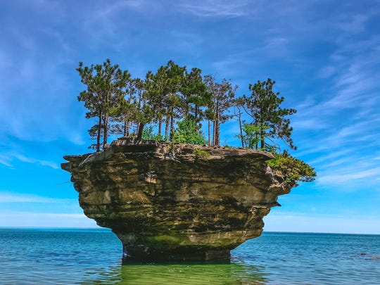 Turnip Rock in Lake Huron.